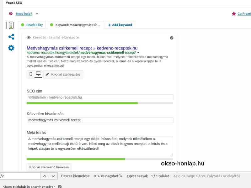 Egyedi meta adatok megadása a Yoast seo bővítmény segítségével